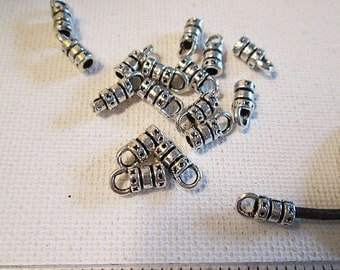 Tube End Caps, 10x5mm, Fits 2mm Cord, Glue On, Silver Metal Cord End, Leather Cord Terminator - bm139