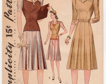 Original Vintage Sewing Pattern Simplicity 3706 Ladies' Dress and Jerkin 1940's 32 Bust - With FREE Pattern Grading E-Book Included