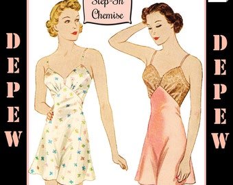S605 Vintage Sewing Pattern Multi Size Reproduction 1930's Step-in Chemise #2024 - INSTANT DOWNLOAD