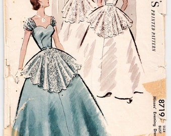 "ORIGINAL Vintage Sewing Pattern 1950's Ladies Evening or Wedding Gown McCall's 8719 Size 34"" Bust - Free Pattern Grading E-book Included"