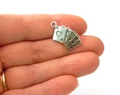 Playing Card Charms Set of 8 Silver Color 12x24mm