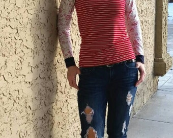 Women's red valentine rose bamboo top