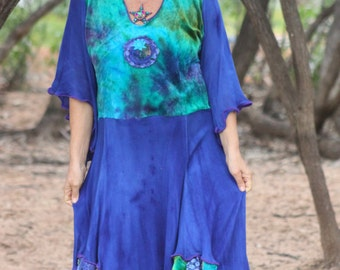 RESERVED Belladonna Bamboo velvet hand dyed mystical Priestess dress in soft rayon knit with angel sleeves created by Wunjo Crow XXL