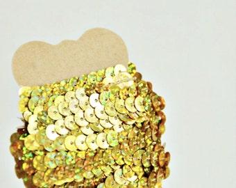Gold Sequin Ribbon Trim {5.0m} DIY Craft Supply | Wedding Christmas Festive | Holiday Gift Wrap | Sparkle Trim  | SALE