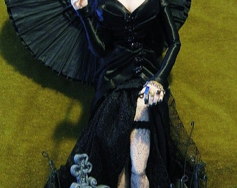 Merry Widow and the Beloved Husband Goth OOak Art Doll by moninesfaeries