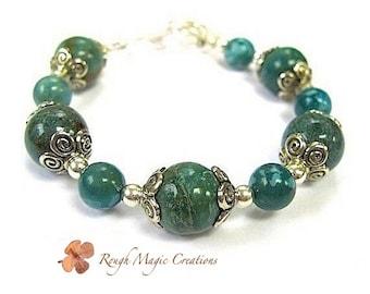 Emerald Forest Green Gemstone Bracelet. Sterling Silver. Teal Turquoise Jasper Semi Precious Stones. Chunky Stackable Bracelet. Boho Jewelry