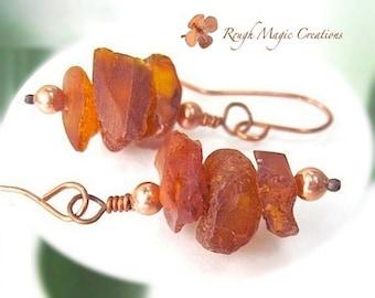 Baltic Amber Earrings. Raw Gemstone Stack Earrings. Genuine Amber Chunky Nuggets. Rustic Boho Dangles. Copper Beads. Natural Organic Jewelry