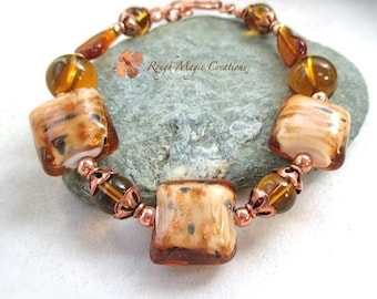 Chunky Bracelet, Amber Topaz Lampwork, Large Bead Bracelet, Copper Glitter, Hand Forged Copper Toggle Clasp, Autumn Leaves, Fall Colors B553