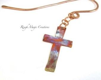 Christian Bookmark, Cross Bookmark, Spiritual Gift, Faith Bookmark, Rustic Copper Bookmark, Religious Bookworm Gift, Bible Bookmark
