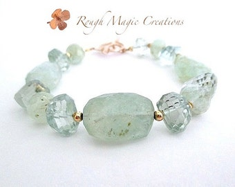Luxe Gemstone Bracelet by Rough Magic Creations. Chunky Aquamarine, Prasiolite Stones. Gold Filled Beads, Clasp. High Fashion Glam Jewelry