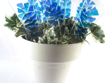 Bluebonnet Flower Plant Stake Fused Glass Garden Ornament Teacher Gift