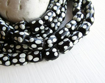 Black and white glass beads, tube lampwork beads, opaque spots designs,  boho ethnic style Indonesia 10 x 11mm ( 8 beads ) 6bb8-4