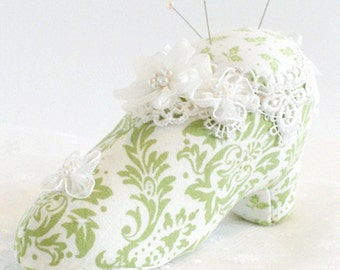 Marie Antoinette Fabric Shoe, Shabby Chic Pincushion, Cottage Pincushion, Green Shoe Pincushion, Victorian Pincushion