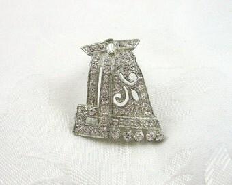 Vintage Art Deco Dress Clip Rhinestone Crystal Silvertone Restored