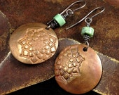 Copper with American Green Jasper Stone - Floral Textured Earrings