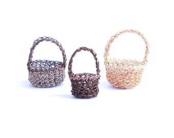 Miniature crochet wire baskets, set of 3 earth tone - mini baskets, doll baskets, easter baskets, crochet container, gift baskets, mini pots