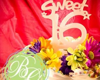 Cake Topper - SWEET 16, stars *Original Design*