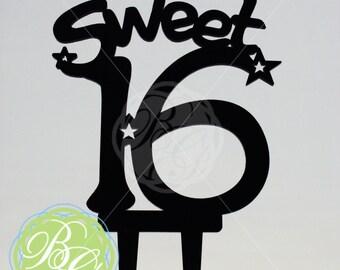 Sweet Sixteen 16 Cake Topper, Table Decoration, Party Centerpiece, BLACK *Original Design*