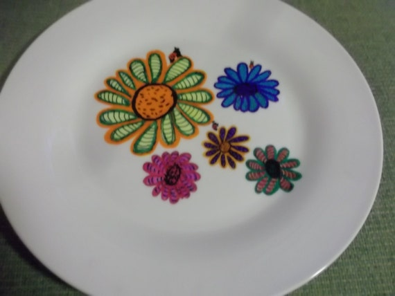 Beautiful Zentangle Multi Color Daisy Painted Plate with Ladybugs Gift Giving Plate Holidays Home Decor Cookies Fudge Friend Coworker