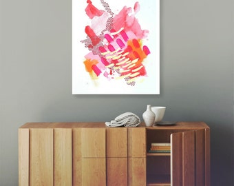 Abstract painting - Mixed media original painting on paper 19.6 x 27.5 inches colorful painting, large paper painting