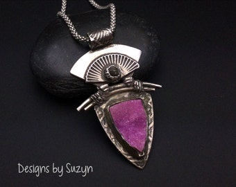 Transcendence - Sterling Silver Rough Black Diamond and Pink Cobalto Calcite
