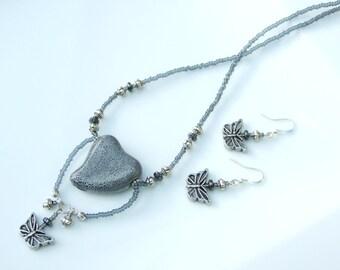 Grey jewellery SET - Grey Ceramic Heart & Butterfly Fancy Pendant Necklace and Earrings
