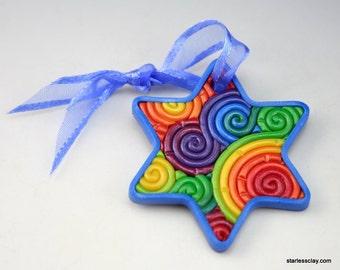 Star of David Mini Ornament in Rainbow Polymer Clay Filigree