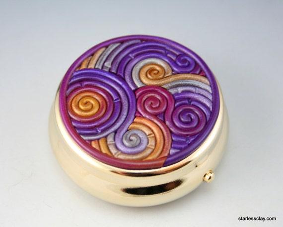 Pillbox in Purple, Gold, Silver Fimo Filigree