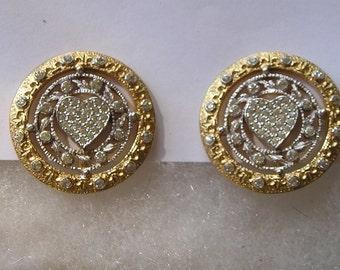 Pretty Silver Tone & Goldtone Paste Rhinestone Heart Clip On Earrings