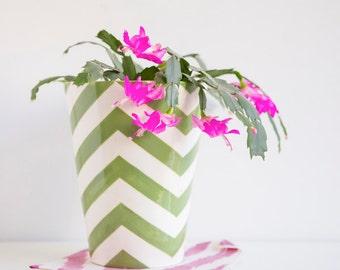 ON SALE, Handmade, Ceramic, Vase , Luxury, Gift, Gold Edged, Green, Chevron