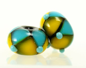 Made to Order, Handmade Lampwork Beads, Aqua and Yellow Pair, SRA Beads, Donna Trull, Artisan Beads, Floral Beads, Glass Flowers