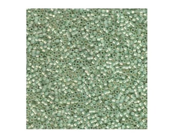 Miyuki Delica Beads 11/0 Japanese Seed Beads DB1454 (7.2g), Silver Lined Lt Moss Green Opal Delica Seed Bead, Glass Beads, Cylinder Bead