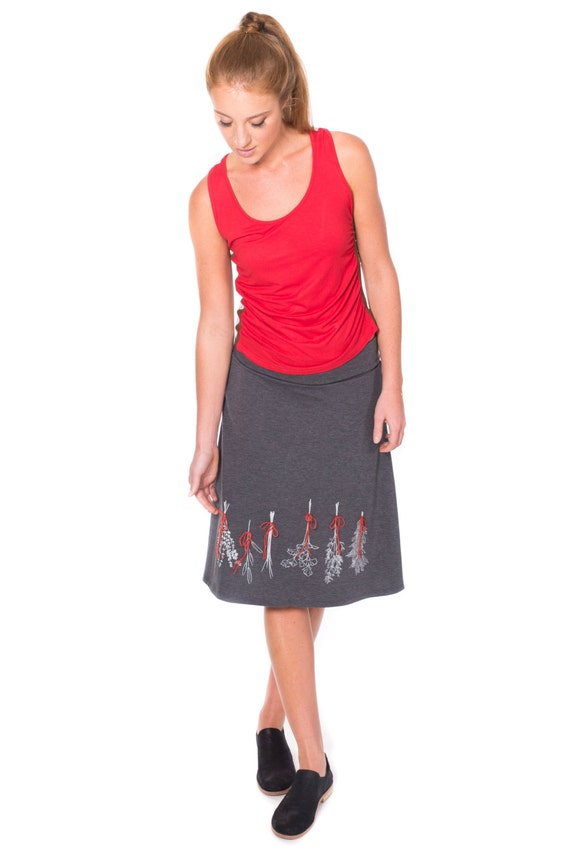 Jersey skirts with elastic waist, Gray Knee Length Skirt, Fold over waist midi skirt, Womens Pull on knit skirt- Preserve some herbs
