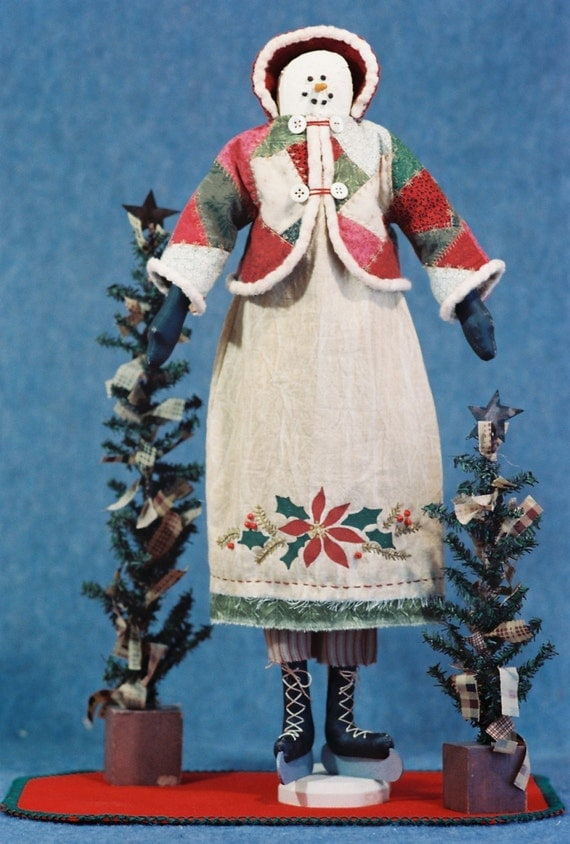 Mailed Cloth Doll Pattern- 22in Christmas Holiday Snowgirl