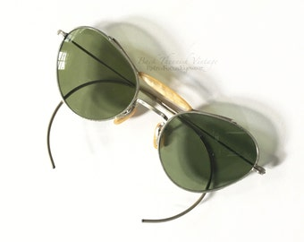 30's Pinup Cat Eye Aviator Womens Pilots Sunglasses Eyeglass Frames Green Lenses Silver Frame Mother of Pearl Bridge and Brow