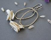 Rustic Pearl Earrings. Hammered Sterling Silver Dangle Earrings. Oval Hoop Earrings. Modern Bridal Jewelry.