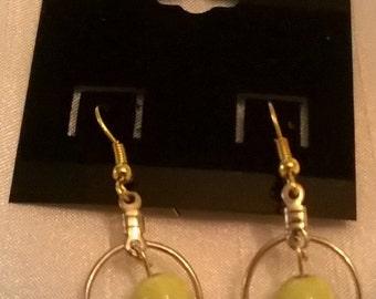 Yellow Acrylic Balls Dangling in Golden Circles Earrings