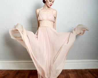 SALE - Silk Bias Cut Gown . Champagne Pink . Heart Lace