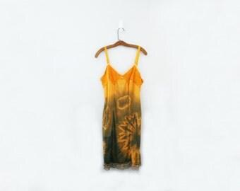 vintage 60s Spooky Halloween Orange & Black Festival Slip Dress Upcycled Hand Dyed Tie Dye Sz 36 Short // Medium Large