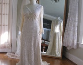 Renaissance Faery Tale Champagne Lace Wedding Gown