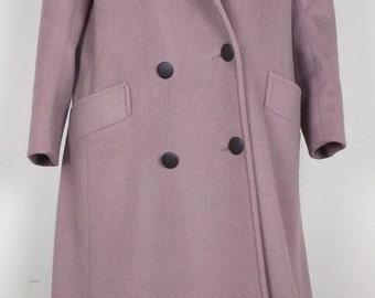 Dusty Plum Purple Long Wool Coat Misses M L 80s