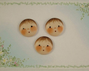 Baby Face Buttons set of 3