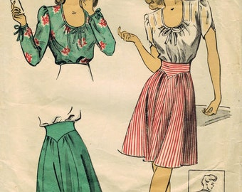 1940s Du Barry 5836 Vintage Sewing Pattern Misses Blouse, Peasant Blouse, Petal Sleeves, High Waist Skirt Size 12 Bust 30