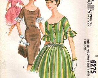 1960s McCall's 6275 UNCUT  Vintage Sewing Pattern Misses Dresses Size 16 Bust 36
