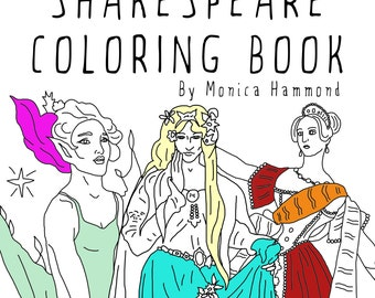 Women of Shakespeare Coloring Book, Adult coloring book, Printable Coloring Pages, Instant Download, Macbeth, Fairy Coloring Page