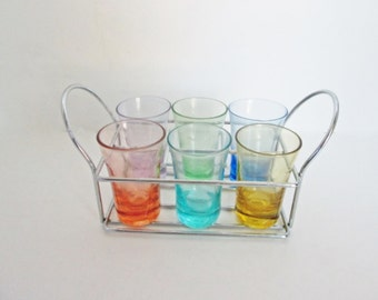 Shot Glass Holder Caddy Liqueur Set Chrome Swank Vintage Barware Mid Century Mad Men Bar Gift Cordial Glassware Colored Drink Glasses