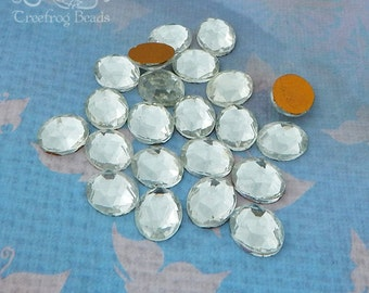 Vintage Cabochons - 10x12 mm Faceted Clear Crystal - 6 West German Glass Stones