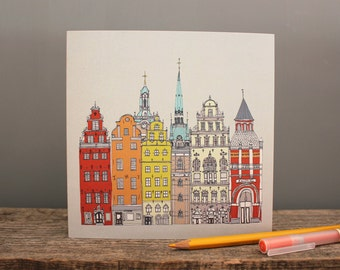 Stockholm Recycled Greetings Card - Swedish Scandinavian Design