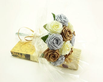 Origami Almond Butter Rose Bouquet - Champagne and Eggshell Roses (1 Dozen Gift Wrapped) Anniversay Gift, Valentines day gift