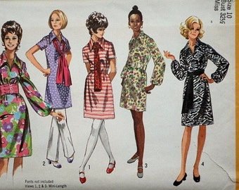Sewing Pattern,Vintage 70's Simplicity 9219 Misses' Dress in Two Lengths and Sash, Size 10, 32.5 Bust, Retro Mod